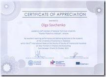 Certificate in the IW in UE Katowice_Olga Savchenko
